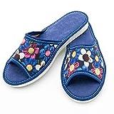 ABsoft - Pantofole aperte da donna 100% ciabatte da casa, Blu (Blu), 38 EU