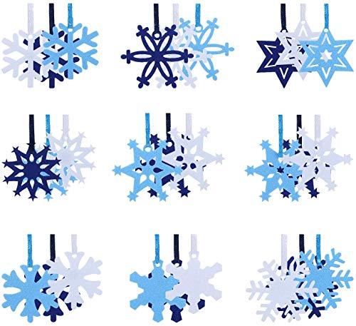 Naler 45 Adorno Fieltro Decorativo Navidad Fieltro Copos Nieve para Manualidades Decoración de Árboles de Navidad