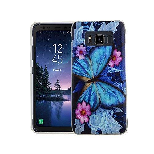 König Design Handy-Hülle kompatibel mit Samsung Galaxy S8 Active Silikon Hülle Hülle Sturzsichere Back-Cover Handyhülle - Schmetterling Blau