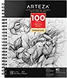Arteza 9X12' Sketch Book, 100 Sheets (68 lb/100gsm), Spiral Bound Artist Sketch Pad, Durable Acid Free Drawing Paper, Ideal for Kids & Adults, Bright White