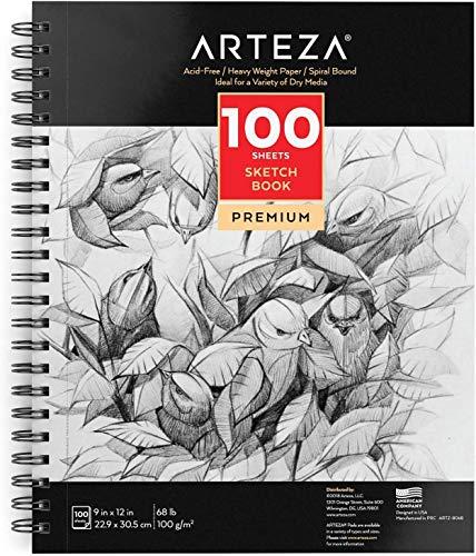Arteza Skizzenblock 100 Blatt, spiralgebundener Zeichenblock 22.9 x 30.5 cm mit säurefreiem Zeichenpapier 68 lb/ 100 gsm für Künstler und Hobbymaler