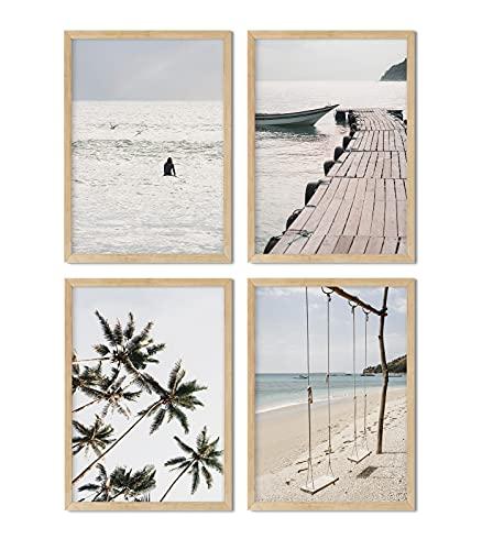 Set de 4 láminas decorativas para enmarcar. Paisaje tropical, playa, surf y palmeras para los cuadros de tu pared. Posters impresos en papel de 350g. Sin marco