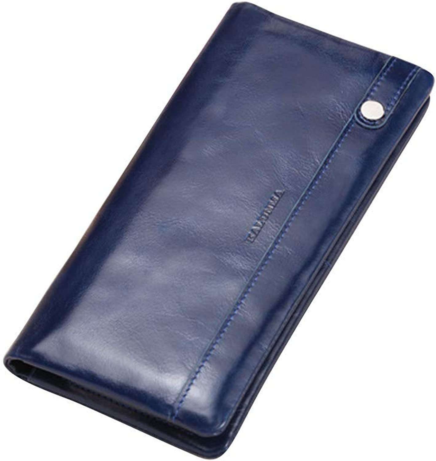 Ladies Handbag Women's Long Wallet Two Fold Wallet Popular Leather (color   blueee)