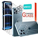 [3+3+3 Pack] BREAKiX Screen Protector Compatible with iPhone 12 Pro Max (6.7 inch), Front + Back Screen Protector + Camera Lens Protector Tempered Glass 9H HD [Installation Frame] [Precise Cutout]