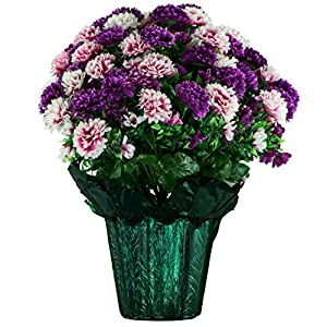 Sympathy Silks Memorial Artificial Flowers Weighted Pot Bouquet Decoration – Height 18″-20″ – Artificial Greenery – Fade Resistant – Pink and Purple Mum Potted Silk