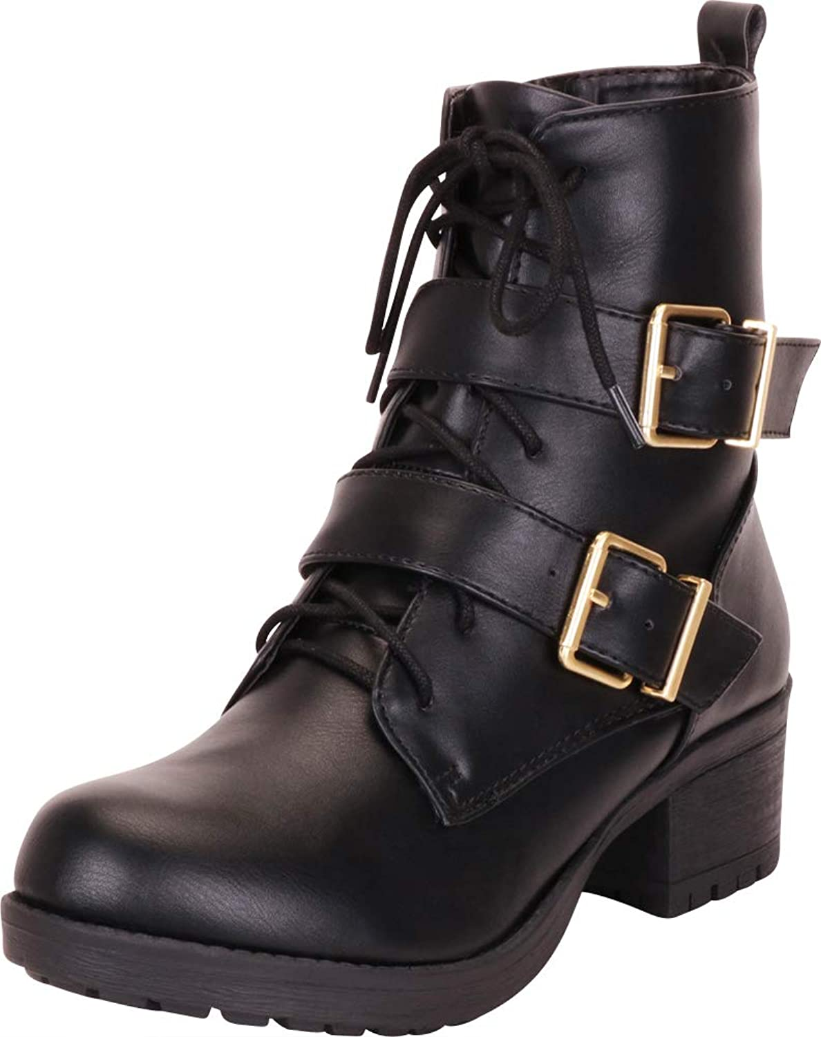 Cambridge Select Woherrar Strappy Buckle Buckle Buckle Lace -Up Stack Block Heel Moto Combat Boot  100% passform garanti