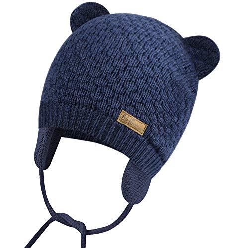 Unisex - Baby Mütze Beanie Strickmütze Unifarbe Wintermütze Mütze mit Ohrenklappen und Bindebändern
