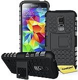 Samsung Galaxy S5 Funda, FoneExpert® Heavy Duty silicona híbrida con soporte Cáscara de Cubierta Protectora de Doble Capa Funda Caso para Samsung Galaxy S5 + Protector Pantalla (Negro)