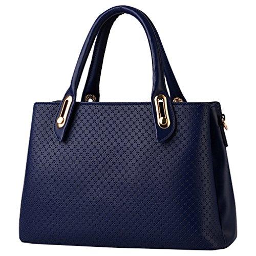 MissFox Borsa A Spalla Donna Borse A Mano Borsa Messenger Donna Vintage Cerniera Design Tote Zaffiro Blu