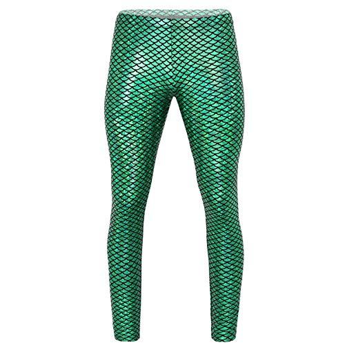 Alvivi Herren Hose Wetlook Leggings Meerjungfrau Fischschuppen Druck Strumpfhosen Pantyhose Glanz Hose Pants Fasching Karneval Clubwear Grün M