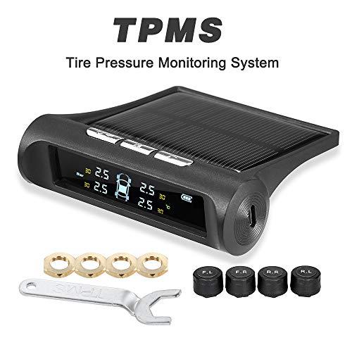KKmoon Reifendruckkontrollsystem Wireless Auto Reifendruckmesser TPMS 0-3.5 Bar mit 4 externen Sensoren Echtzeitanzeige 4 Reifendruck und Reifentemperatur mit Deutscher Anleitung