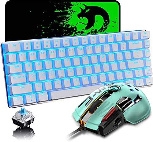 Mechanical Keyboard and Mouse Combo Wired 82 Keys Ice Blue Backlit Gaming Keyboard Blue Switch, 12000 DPI with 12 Button Programmable Mice Compatible with Laptop PC Gamer Computer Typist Desktop