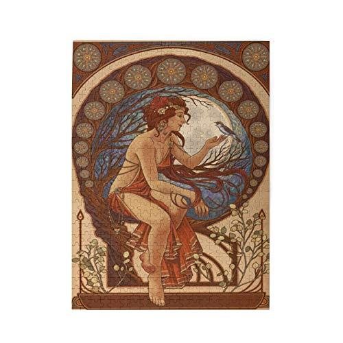 Mujer y pájaro   Puzzle Art Nouveau con imágenes 500PCS