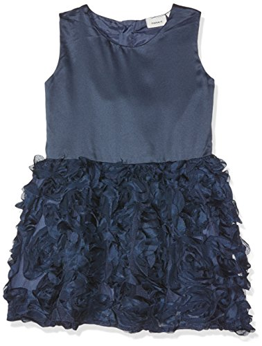 Name It Nitfry Spencer WL MZ Robe, Bleu Dress Blues, 86 Bébé Fille