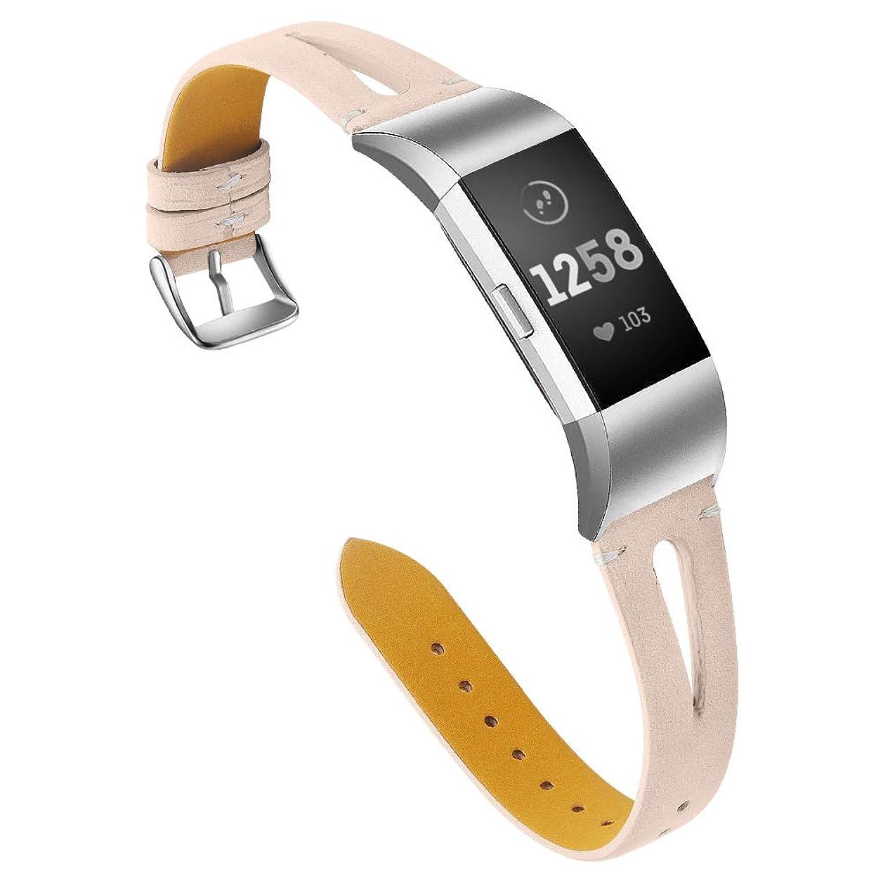 兄弟愛主張実験Turnwin Fitbit Charge 2に適応交換用革レザーバンド 透かし彫りリストバンド 腕時計ベルト 上質腕時計ベルト fitbit charge 2に専用替えるベルト 多色有り柔軟快適 個性 ファション- (スクラブ杏色)