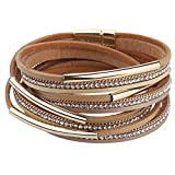 Casual Women Leather Bracelet Crystal Metal Tube Wrap Cuff Bangle with Magnetic Clasp for ...