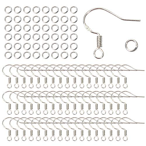 TOAOB 50 Stück Versilbert Ohrring Haken Ohrhaken Fischhaken 18x16mm und 50 Stück 4mm Öffnen Sprung Ringe für DIY Ohrhänger Schmuckherstellung