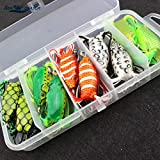 XACQuanyao LMY-Lure, 10pcs 5 Colores Muy pequeño Topwater Frog Hollow Body Señuelos de Pesca Suaves Bass Hooks Baits Tackle Set y Tackle Box