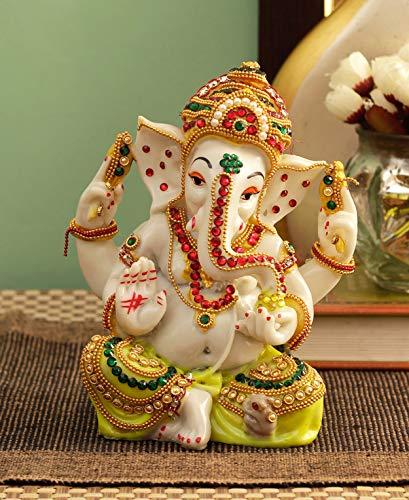 TIED RIBBONS Ganesha Idol Skulptur Statue Figur Ganesh Murti (15 cm X 14 cm X 7 cm) - Dekorative Idol Statue Prunkstück  Multi Standard