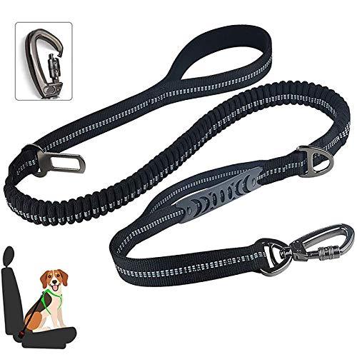 laamei Hunde Sicherheitsgurt, 4-in-1 Verstellbar Sicherheitsgeschirre mit Elastischer Ruckdämpfung und Starke Karabiner, 5 ft Reflektierend Hund Leine für Alle Hunderassen & Autotypen