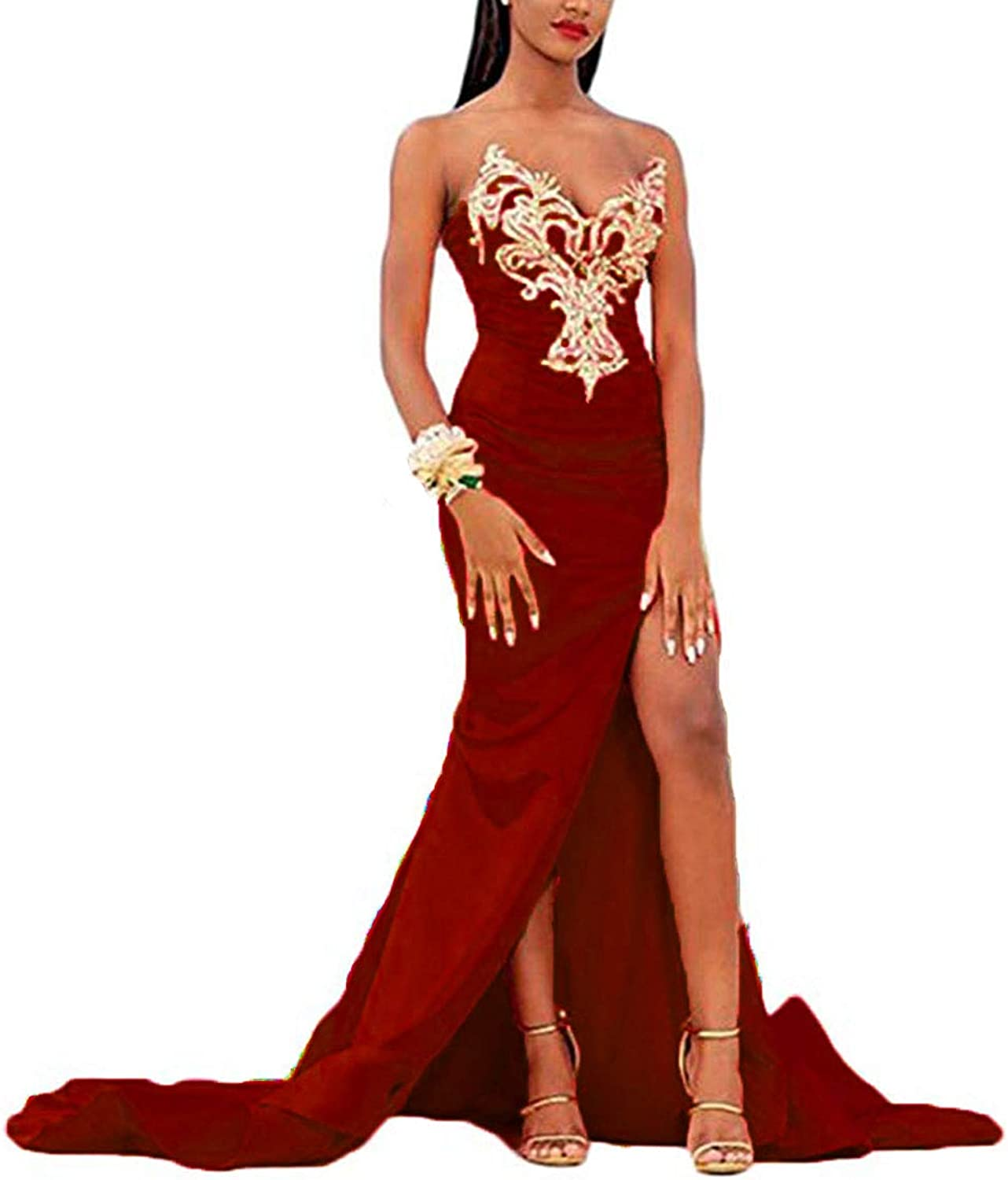 Alilith.Z Sweetheart High Side Split Prom Dresses Mermaid Appliques Formal Evening Dresses Party Gowns for Women