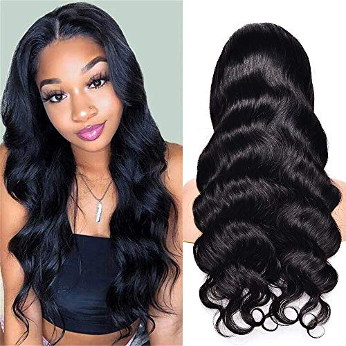Styling 13x4 Body Wave Medium Brown Lace Front Wigs Human Hair 150% Density Pre Plucked with Baby Hair Brazilian Human Hair Wigs for Black Women Natural Color (12 Inch, Natural)