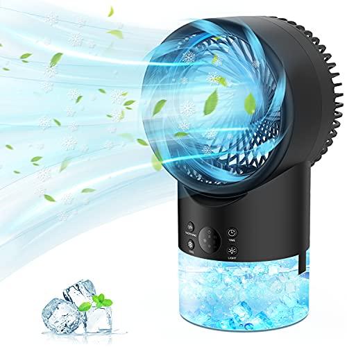 PATISZON Mini Condizionatore, Condizionatore Portatile, Raffreddatore d'Aria Mini Ventilatore Condizionatore Air Cooler con 3 velocità, 7 LED Colori Variabili, 2H/4H Timer per Casa e Ufficio