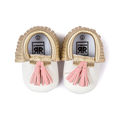 Save Beautiful Infant Baby Boys Girls Crib Shoes PU Leather Tassel Moccasin Prewalker Loafers First Walkers (6-12 Months, Gold Pink)