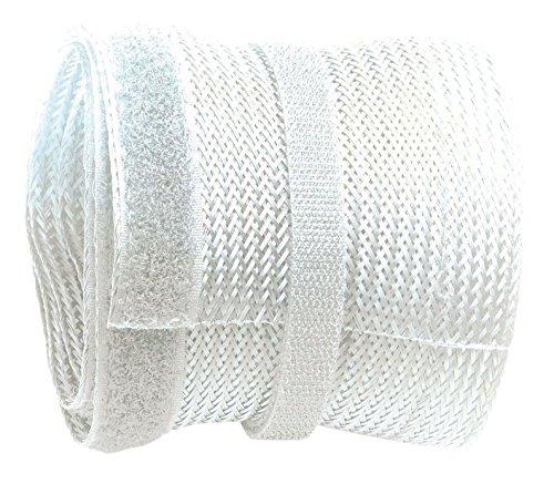 RICOO Kabelkanal Z9135W-10 Weiß 10m Länge | Kabelschlauch wiederverschließbar mit Klettverschluss Kabelführung Kabel Organizer Kabel-Management Kabeldurchführung Kabelorganisation