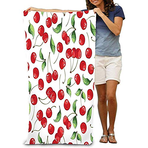 zhengshaolongG Badetuch Bath Towel Beach Towel Quick Drying Bath Towels for Home Bathroom Pool Gym Cherries Fruit Digital Repeat Bright Cherry Textile Wrapping Wallpapers Other Surfaces Psychedelic