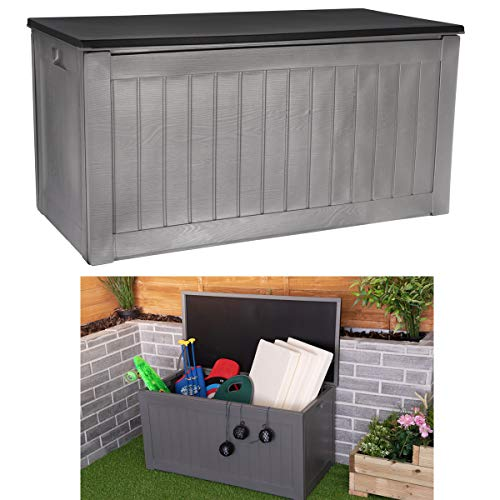FiNeWaY Portable 190L Outdoor Plastic Garden Storage Box Shed Furniture Utility Gardening Tools BBQ Grill Chair Cushions Toys Bike – Weather Resistant – With Handles