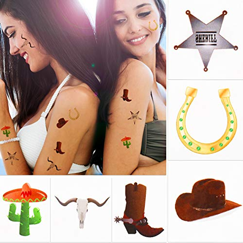 144 Pieces Western Cowboy Temporary Tattoos Western Elemental Stickers with Flannelette Bag Cowboy Party Accessories for Adult Children 1