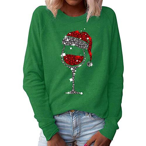 Geilisungren Tops de Navidad para Mujer Manga Larga Cuello Redondo con Estampado de Copa de Vino Camiseta gráfica Divertida Camisetas con patrón de Navidad Sudadera Informal Blusa de Gran tamaño