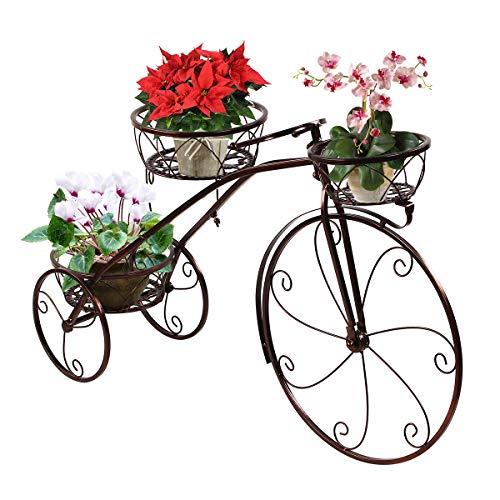 Display4top Metal Bastidores para Plantas,Soporte para macetas de 3 Niveles con Forma de Triciclo,JardíN Decorativo Patio Soporte De ExhibicióN De Bicicletas