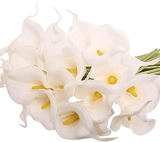 Packozy 20 Pcs Artificial Flower Calla Lily Bridal Wedding Bouquet Lataex Bouquets 14.17