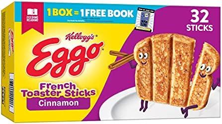 Eggo Frozen French Toast Sticks, Frozen Breakfast, All Day Kids Snacks, Cinnamon, 12.7oz Box (32 Sti