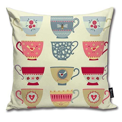 ewretery Throw Pillow Cover Square 18x18 Inches Tea Cups Decorative Zipper Pillowcase Home Decor Cushion Case