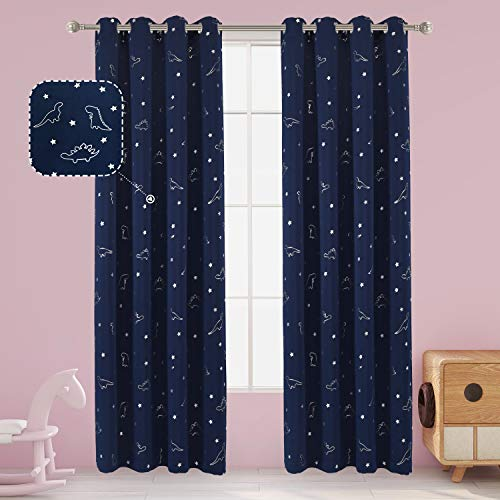 LORDTEX Dinosaur and Star Foil Print Blackout Curtains for Kids Room - Thermal Insulated Curtains Noise Reducing Window Drapes for Boys and Girls Bedroom, 52 x 84 Inch, Navy, Set of 2 Panels