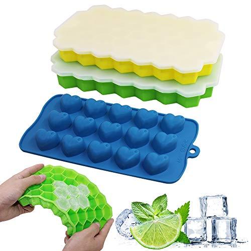 Senhai, 3 vassoi per cubetti di ghiaccio con coperchio resistente alle fuoriuscite, in silicone flessibile, antiaderente, impilabile, per caramelle, cioccolato, colore: giallo, verde, blu