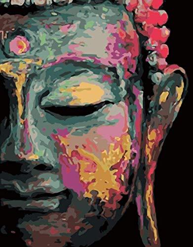 Malen nach Zahlen für Erwachsene Anfänger Kits Gemalter Buddha Kopf (40x50cm/Mit Rahmen) DIY Ölgemälde für Kinder mit Pinsel und Acrylfarbe Kunst Hauptdekoration Geschenke