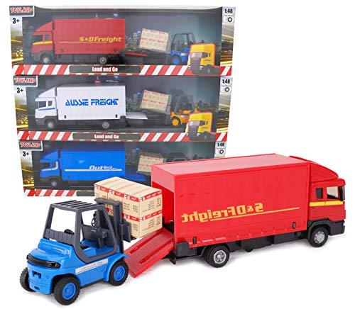 TOYLAND® - Juego de vehículos Diecast Metal Load and Go - Camión de Carga Scania con Carretilla elevadora y Paleta - Juguetes para vehículos de Transporte - Juguetes para niños (Aleatorio)