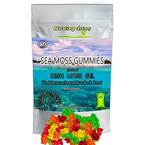 Irish Sea Moss Gummies – Raw Organic Wildcrafted Sun-Dried Seamoss Powder and Gel - Bladderwrack Burdock Root – Alkaline Keto Vegan Non-GMO Diet – Thyroid Healthy Skin Detox - HEALING DROPS (Assorted)