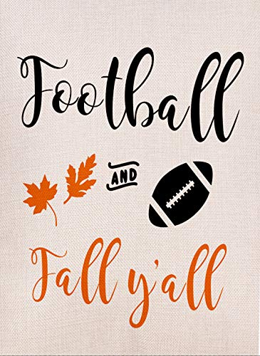 Dyrenson Home Decorative Football and Fall Yall Garden Flag Double Sided, Autumn Leaves Quote House Yard Flag, Funny Decorative Flag with Saying, Garden Yard Decorations, Seasonal Outdoor Flag 12 x 18