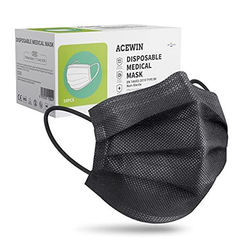 50 pezzi Mascherine Nere Certificate Ce, Type IIR Mascherina Nera Usa e Getta per Adulti, 3 Strati - BFE ≥ 98%