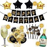 Casafilo XXL Deko Set für Silvester/Neujahr 2021 | Happy New Year Girlande + 30 Luftballons + 6 Folienluftballons (Sterne, Sektflasche, Sektglas) + 12 Strohhalme