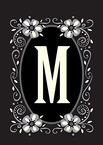 Toland Home Garden Classic Monogram M 28 x 40 Inch Decorative Flower Initial House Flag