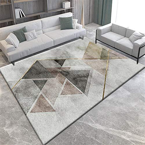 Kunsen Tapis Ne Se fanent Pas Lavable Salon Tapis Design géométrique Noir Gris Brun Durable et Facile à Entretenir Antifouling Tapis180X250CM