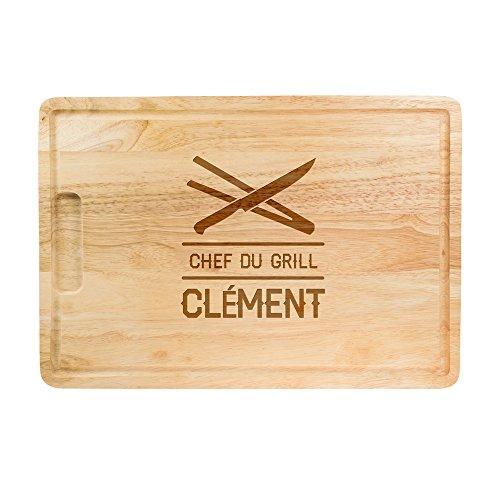 Planche à découper avec Gravure - Chef du Grill - avec Gravure personnalisé du [NOM] - Motif : Couteau et Pince à Barbecue - Planche à Cuisine - Planche de Bois pour grillades