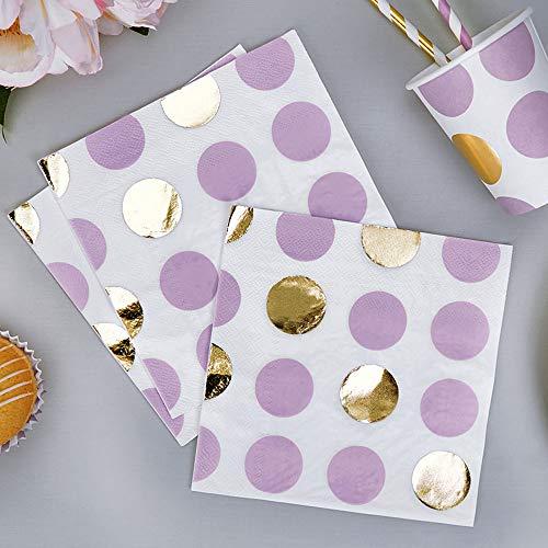 Premium Weddings Papierservietten Punkte lila Gold 33 x 33 cm 16 Stück - Hochzeitsservietten Hochzeit Servietten Baby Shower Babyparty Kindergeburtstag Dots lila Gold