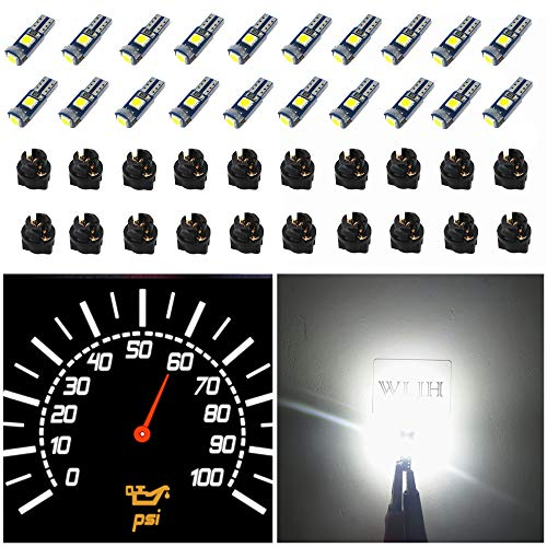 WLJH 74 Led Bulb Dash Lights Super Bright T5 2721 37 70 286 Wedge PC74 Twist Socket Automotive Instrument Panel Gauge Light Kits Cluster Shift Indicator Bulbs White Pack of 20